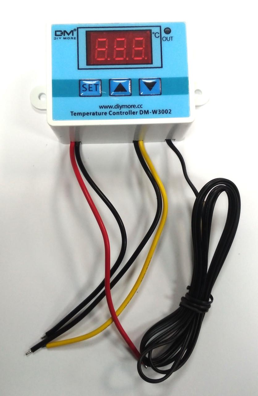Цифровий термостат терморегулятор DM-W3002 з датчиком температури, живлення 12 вольт