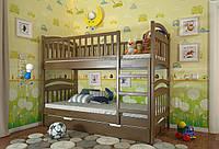 Кровать детская Arbor Drev Смайл сосна двухъярусная 80х190, Орех