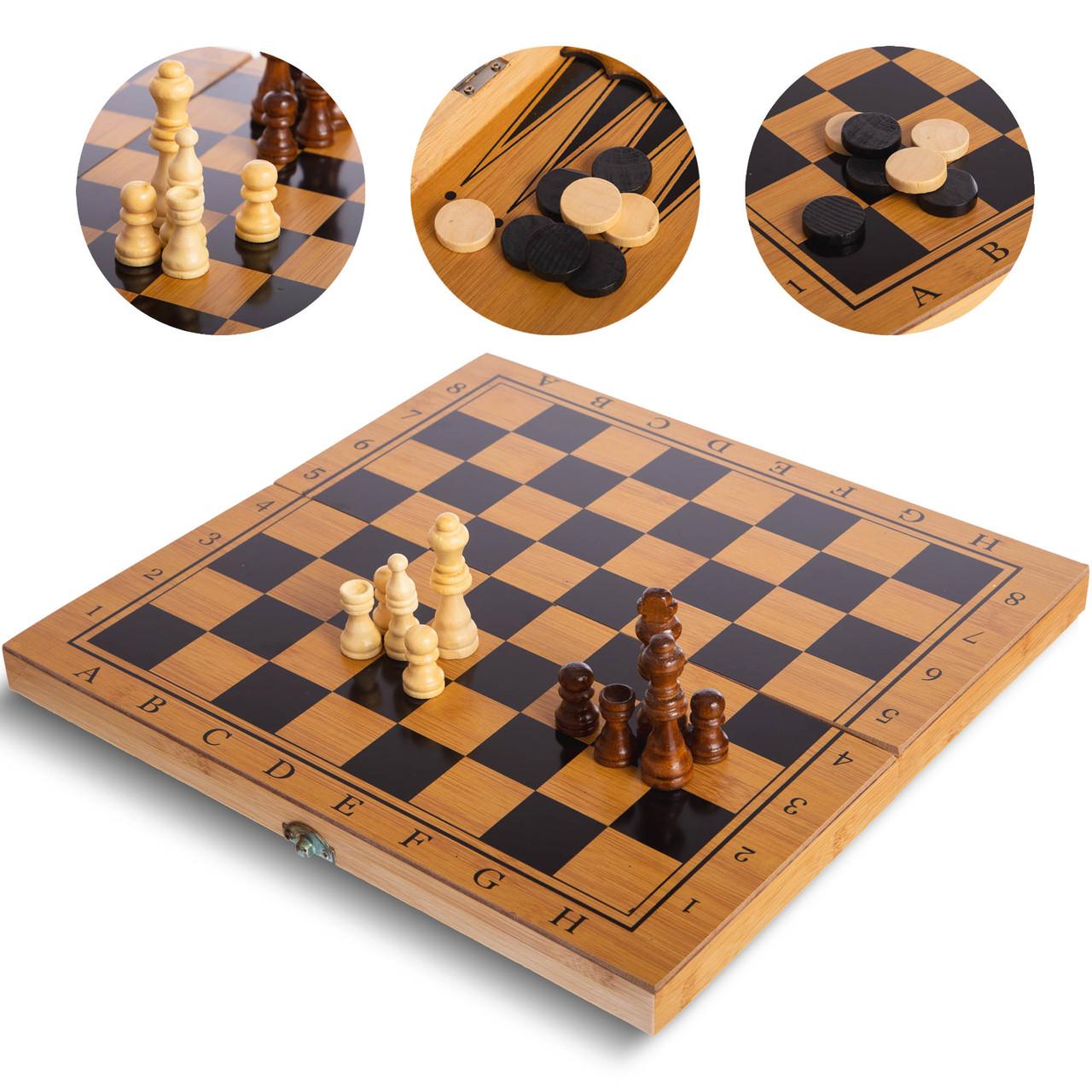 Шахматы, шашки, нарды 3 в 1 бамбуковые B-3135