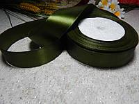 Лента атласная 2,5 см темно-оливковая