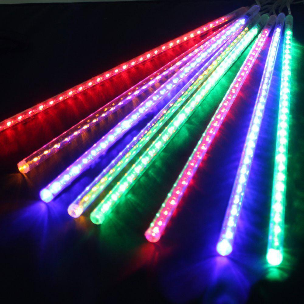 Уличная LED гирлянда Тающие Сосульки, Метеоритный Дождь 2*0,5 Мульти Цветная, 320 Диодов Силикон 8 Сосулек