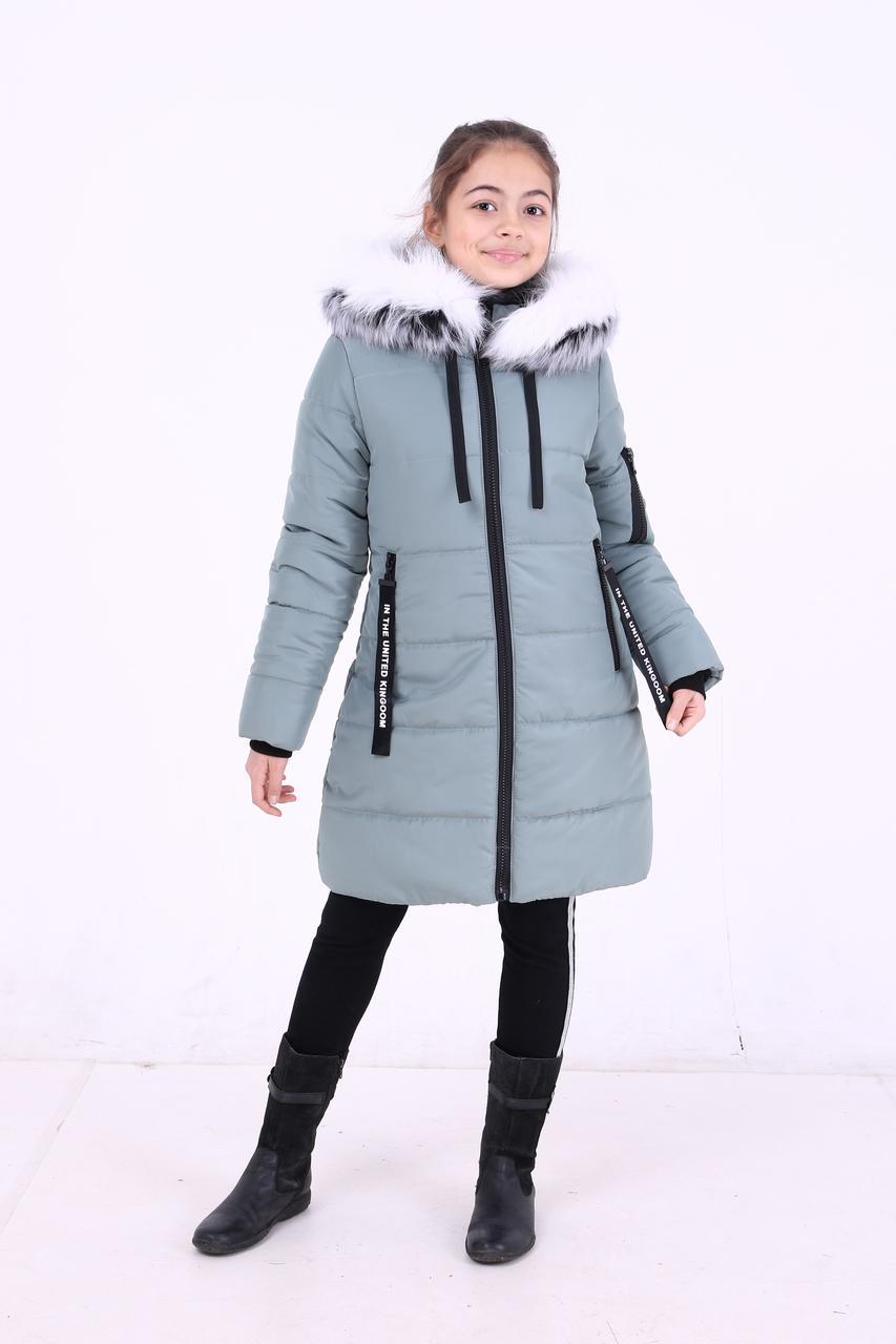 """Детская зимняя курточка для девочки """"Кайли"""" с мехом (светлые), размеры: 34-40."""