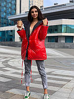 Женская зимняя теплая куртка двусторонняя плащевка на синтепоне красный+черный 42-44 46-48 50-52 54-56, фото 1