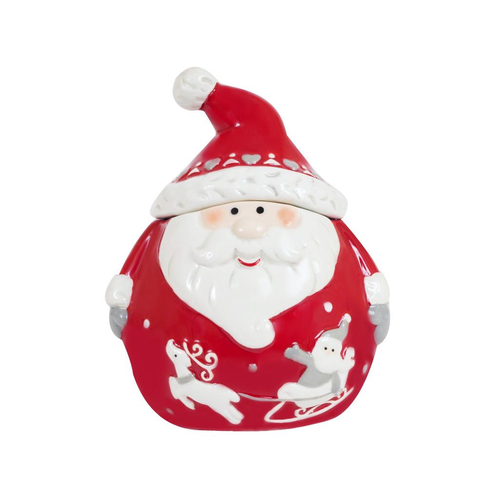 Банка для сыпучих Дед Мороз красная 11см 107848