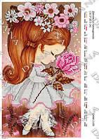 """Схема для частичной вышивки бисером """"Девочка с розой"""""""