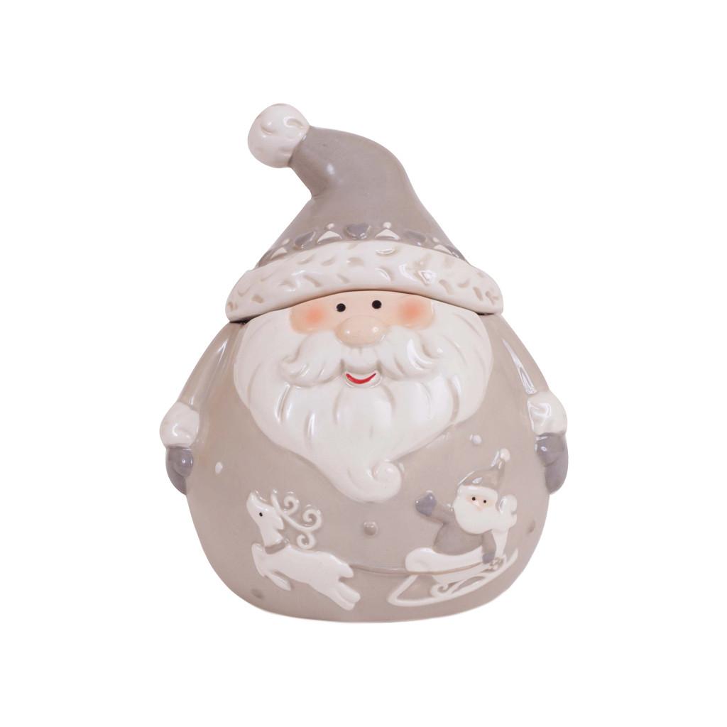 Банка для сыпучих Дед Мороз серая 11см 107847