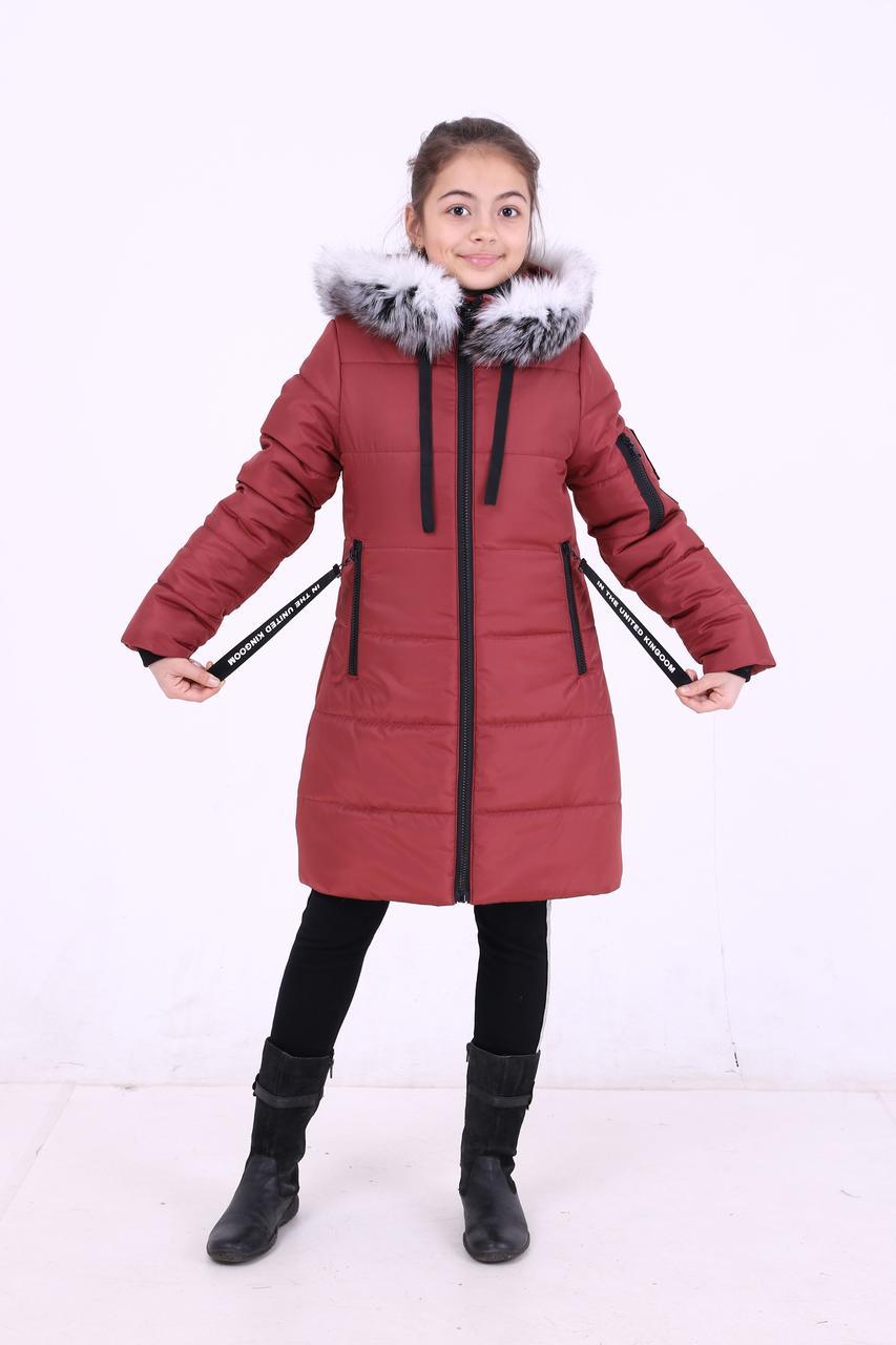 """Детская зимняя курточка для девочки """"Кайли"""" с мехом (темные), размеры: 34-40."""