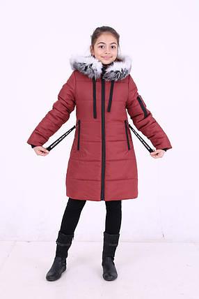 """Детская зимняя курточка для девочки """"Кайли"""" с мехом (темные), размеры: 34-40., фото 2"""