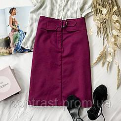 Стильная котоновая юбка насыщенного цвета  KI1946002