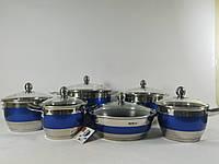 Набор кухонной посуды Hoffner 9969-(Blue) 12 элементов кастрюли, сковорода, сотейник