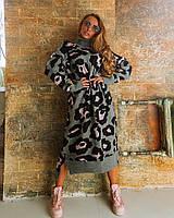 Длинное серое вязаное свободное платье с принтом, фото 1