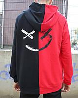Двуцветный худи Be Happy черно-красное