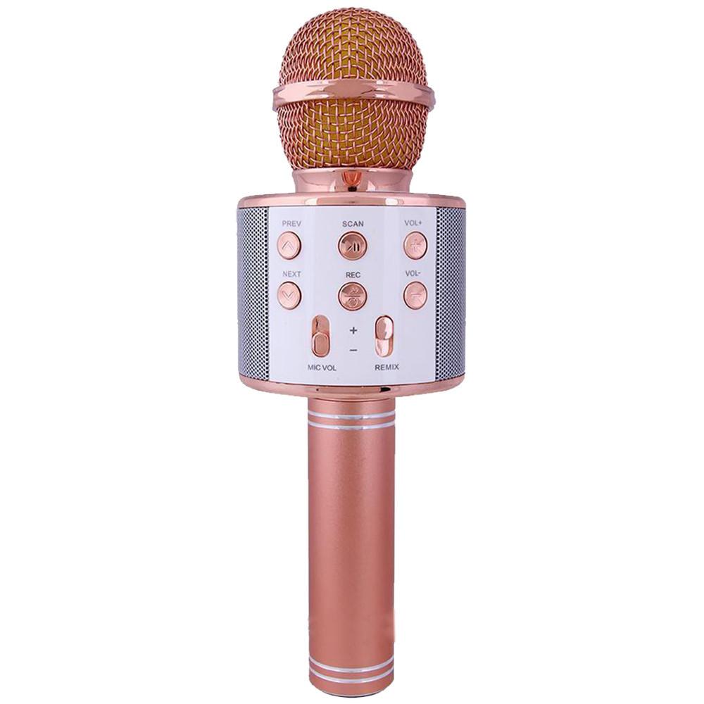 Колонка микрофон-караоке WS-858 Bluetooth (РОЗОВОЕ ЗОЛОТО) + ПОДАРОК D1021