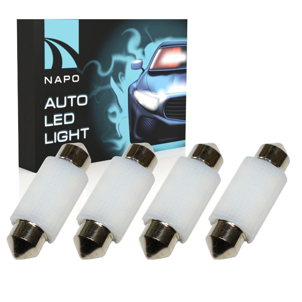 Автолампа диодная SJ-3030-6SMD-CANBUS Ceramic 39mm, комплект 4 шт, C5W, C10W, цвет свечения белый