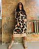 Длинное вязаное оверсайз платье с леопардовым принтом