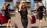 """Шикарный женский костюм топ+юбка """"Donatella """" черный"""