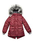 Куртка парка зимняя для девочки бордо