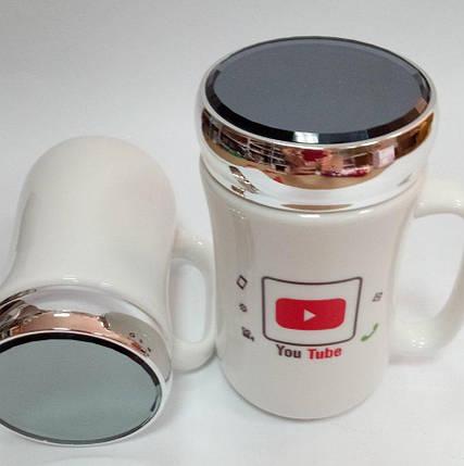 """Чашка с зеркальной крышкой """"YouTube"""" керамическая 400 мл, фото 2"""