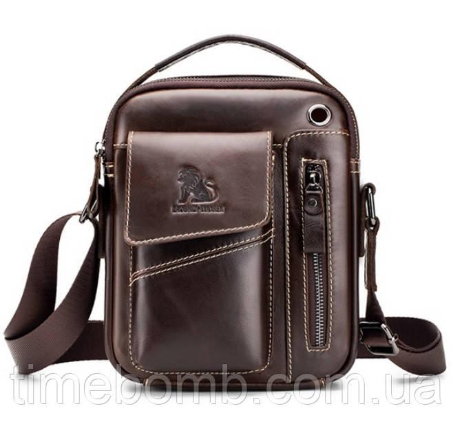 Кожаная мужская сумка барсетка Laoshizi Luosen кофейная 036