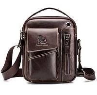 Кожаная мужская сумка барсетка Laoshizi Luosen кофейная 036, фото 1