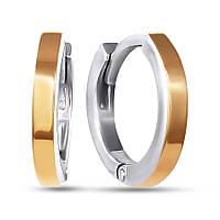 Серьги кольца из серебра с золотыми накладками