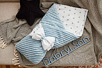 Конверт-одеяло для новорожденного плюш Stripse+бязь Осень ТМ Добрый Сон 100х80 см 7-06