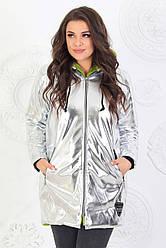 Теплая удлиненная женская куртка из эко-кожи и густого эко-меха + синтепон 150