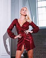 """Женское платье пайетка """"Bliss"""" (бордо и черный, XS,S,M), фото 1"""