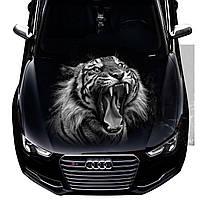 Наклейка на капот Тигр черный фон (1300 × 1500 × 0.15 мм), Grandmaster3d
