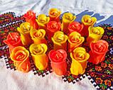 """Восковая свеча """"Бутон коралловой розы"""" из пчелиного воска, фото 2"""