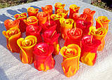 """Восковая свеча """"Бутон коралловой розы"""" из пчелиного воска, фото 5"""