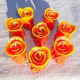 """Восковая свеча """"Бутон коралловой розы"""" из пчелиного воска, фото 6"""