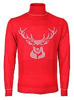 Гольф мужской вязаный красный с вышивкой Красный, XL