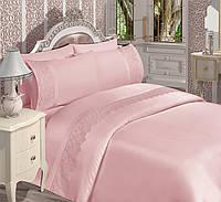Комплект постельного белья евро «Detay Home collection» хлопок-сатин (пудра)
