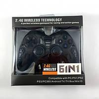 Беспроводной джойстик Game World 6 в 1 для ПК/PS2/PS3/PC360/ANDROID TV/WIN10 Черный (6in1 black)