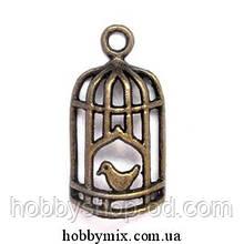 """Метал. подвеска """"птичка в клетке"""" бронза (1,6х2,6 см) 6 шт в уп."""