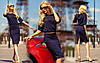 "Шикарный женский костюм топ+юбка ""Donatella ""темно-синий"