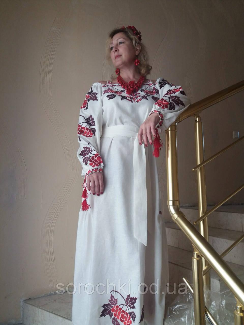 """Платье женское, белое, с вышивкой  в этническом стиле, вышивка """" Калина"""", лен."""