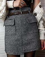 Мини юбка серая с поясом теплая на подкладке с карманами с узором гусиная лапка в расцветках