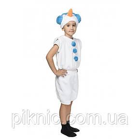 Костюм Снеговик 4,5,6,7 лет Детский новогодний карнавальный Снеговичок для детей Синий, фото 2