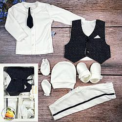 Крестильный набор одежды для мальчика Размер: 0-3 месяца (9308-1)