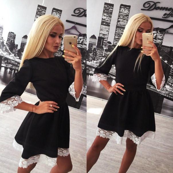 Черное платье с белым кружевом - Женская одежда и обувь