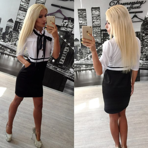 фото платья белый верх черный низ