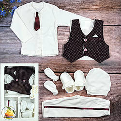 Крестильный набор с жилеткой для мальчика Размер: 0-3 месяца (9308-2)