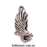 "Метал. подвеска ""орел"" серебро (1,1х2,6 см) 5 шт в уп."