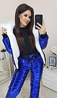 Женский зимний теплый спортивный костюм плащевка на синтепоне синий серебро розовый золото 42 44 46, фото 1