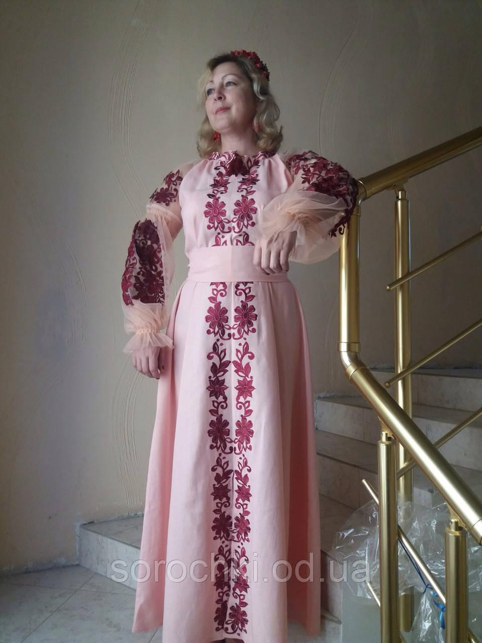 """Платье женское, розовое или голубое  в этническом стиле, вышивка """" Княжна"""""""