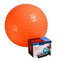 Мяч-масажер для фітнесу PowerPlay 4002 55см Оранжевий, насос (143905)