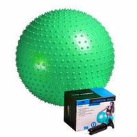 Мяч-масажер для фітнесу PowerPlay 4002 65см Зелений, насос (143906)