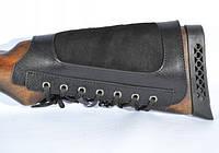 Патронташ на приклад из кожи с мягкой вставкой (щекой) на шнурке на 6 патр. 20к. Черный